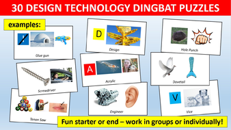 30 x Dingbats Design Technology Sheet Starter Activity Keywords Cover Puzzles End of Term Lesson