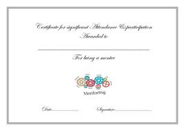 Mentoring certificates excellent