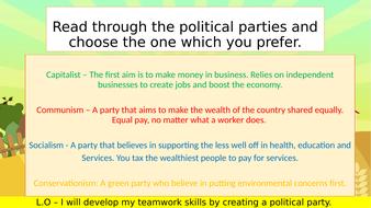 The election race - 3 lesson group activity political parties