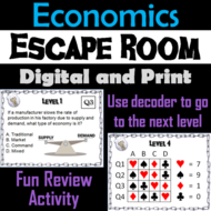 Middle to High School Economics and Personal Finance Escape Room Game