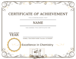 Certificate of Achievement and Effort for Chemistry