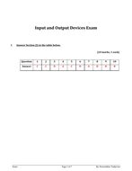 Input and Output Devices Exam with  answer for Y 7 and 8