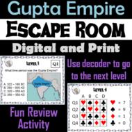 Gupta Empire Activity: Social Studies Escape Room Ancient India Unit