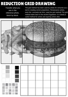 10 High quality art and design worksheets for reducing an image using the grid method.