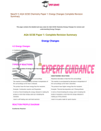 New (9-1) AQA GCSE Chemistry C7 Energy Changes Complete Revision Summary