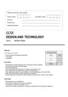 GCSE Design and Technology mock exam AQA style.