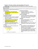 IB Physics Course Topic 6  Gravitational and Circular Motion Teaching and Revision Notes & Questions