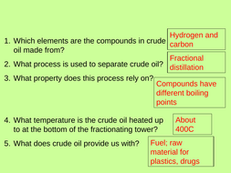 Three sets of starter questions on fuels