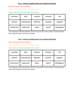 Year 3 Science RAG Rate key vocabulary