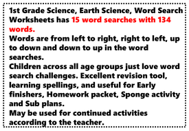 1st Grade Science, Earth Science, Word Search Worksheets