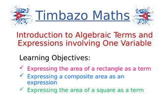 Introduction to Algebraic Terms and Expressions using Area