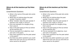 Where Do All The Teachers Go [poem] by Peter Dixon comprehension questions