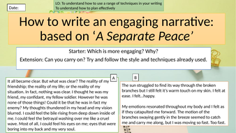 Narrative writing lesson CIE - A Separate Peace