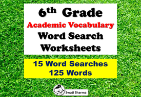 6th Grade Academic Vocabulary Word Search Worksheets
