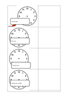 Spanish Telling the time differentiated worksheet