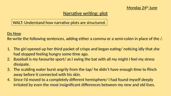 Narrative writing (series of 4-5 lessons) for KS4 GCSE Paper 2