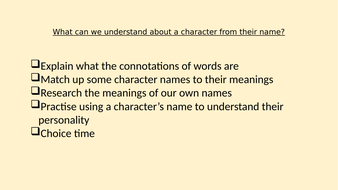 Introduction to connotations/meanings of character names - KS2 or SEN KS3/4