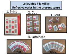 Jeu des 7 familles: Grammar/Conjugation Game:Reflexive Verbs Present Tense-French KS3 to KS5
