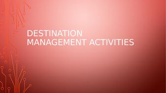 DESTINATION MANAGEMENT TRAVEL AND TOURISM MIND MAP FOR KEY POINTS