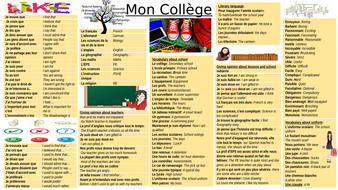 Main vocabulary about school condensed on 2 slides in French-  Vocabulary mat KS4