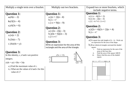 Expanding and Factorising Worksheets