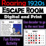 Roaring 1920s Activity: Escape Room Social Studies (Roaring 20s Game)