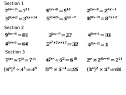 Exponential Equations (Index Laws)