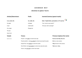Grammar mat cohesive with the curriculum year 3