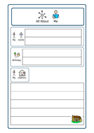 ASD / SEN All About Me Factfile, new class, transition, get to know you activity
