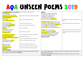 AQA Unseen Poems from May 2019 exam