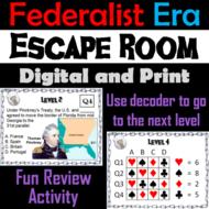 Federalist Era: Washington & John Adams Presidency Escape Room Social Studies