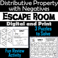Distributive Property Activity (With Negatives): Math Escape Room Algebra