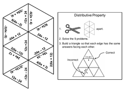 Distributive Property Game (with Negatives): Math Tarsia Puzzle