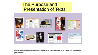 Texts: Their Presentation and Purpose