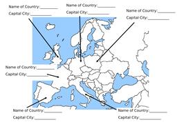 Geography EU & Capitals Worksheet