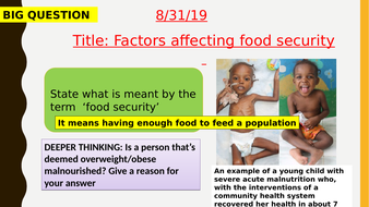AQA new specification-Factors affecting food security, making food production efficient-B18.10-11