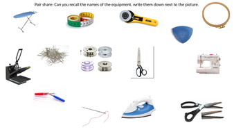 Textiles equipment quiz by uozmindik   Teaching Resources
