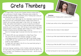Reading comprehension material - Greta Thunberg and Climate change