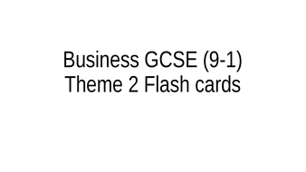 Edexcel GCSE Business (9-1) Flashcards Revision