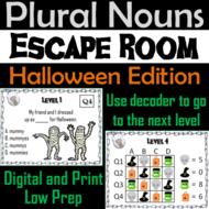 Plural Nouns Activity: Grammar Escape Room Halloween