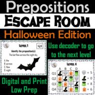 Prepositions Activity: Grammar Escape Room Halloween