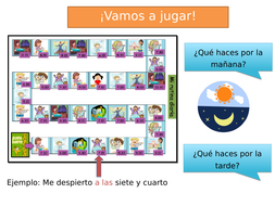 Spanish Game + Presentation to revise DAILY ROUTINE and TIME