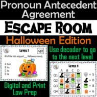 Pronoun Antecedent Agreement Activity: Grammar Escape Room Halloween