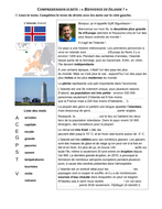 """Bienvenue en Islande !"" - 5 exercises with answers around Iceland, its history and culture (French)"