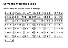 Solve the message puzzle about the Kindertransport