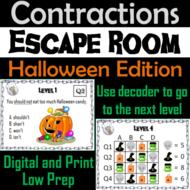 Contractions Activity: Halloween Escape Room Grammar