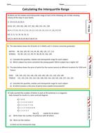 Calculating Quartiles and Interquartile Range Differentiated Worksheet