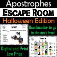 Apostrophes Activity: Halloween Escape Room Grammar