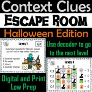 Context Clues Activity: Vocabulary Escape Room Halloween