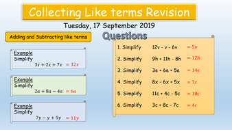 Mathematics: Collection of like terms